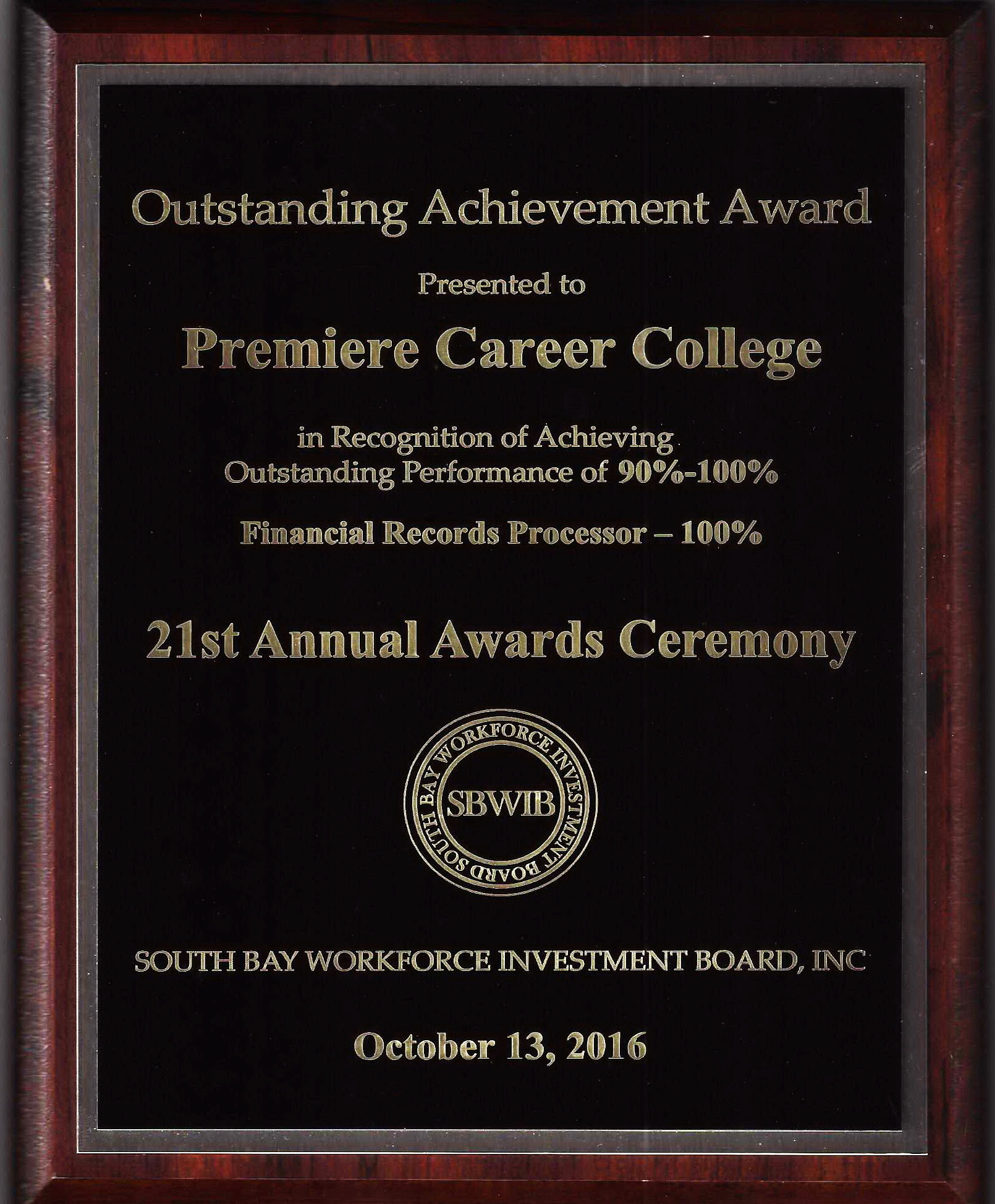 outstanding achievement award presented to premiere career college
