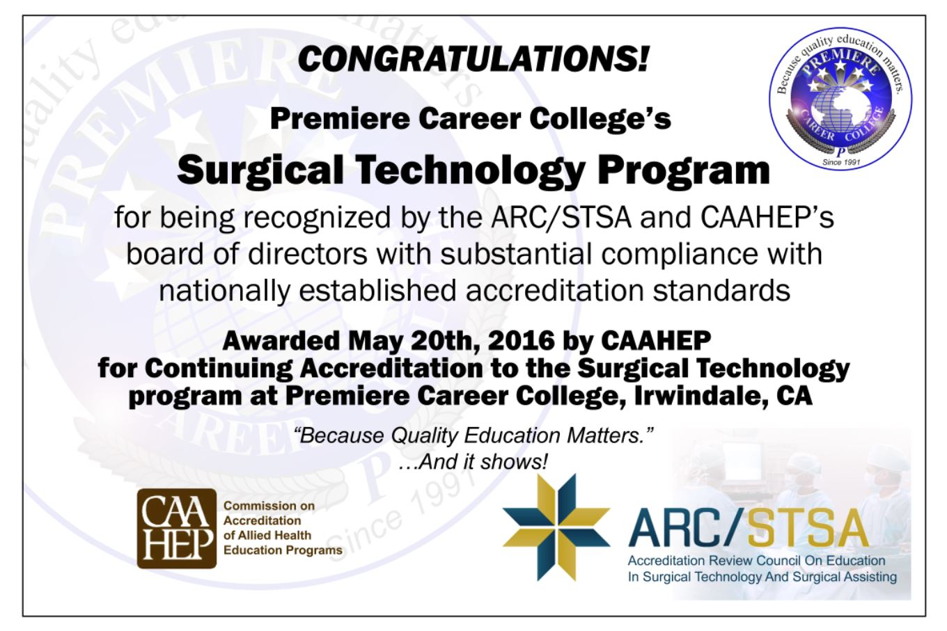 certification for surgical technology program